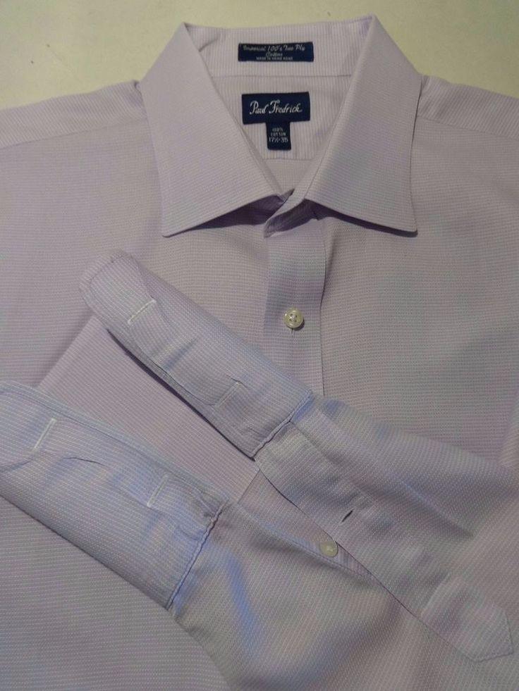 French Cuff Dress Shirt 17.5 PAUL FREDRICK Long Sleeve Lilac Print  2 Ply 35 #PaulFredrick