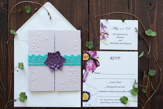 Pruple blue wedding invitation Purple turquoise wedding