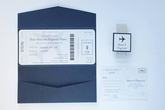 Set the tone for your special day and impress your guests with our beautiful wedding invitation set complete with reply card, twine and tag. This wedding invitation bundle features a beautiful metallic navy blue background with with silver belly band and matching tag. We've chosen a