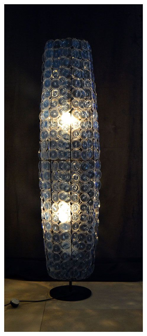 Blue Lamp made with recycled plastic bottles by Nedo Delport.