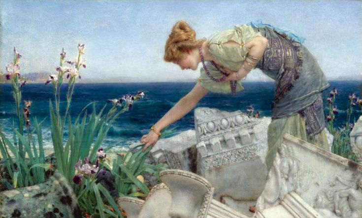 "Sir Lawrence Alma-Tadema (Sir Lawrence Alma Tadema) (1836-1912)  Among the Ruins  Oil on canvas  1902-1904  39 x 24 cm  (15.35"" x 9.45"")  Private collection"