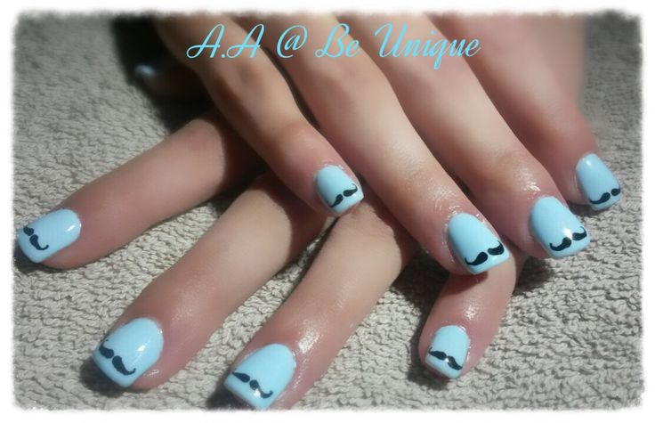 Nails done by Angelique Allegria. #blue #black #mustache #movember #nailart #BeUnique @angiedsa