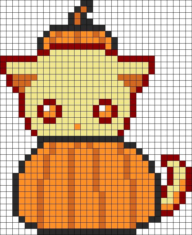 Cutie Pumpkin Kitty Perler Bead Pattern / Bead Sprite
