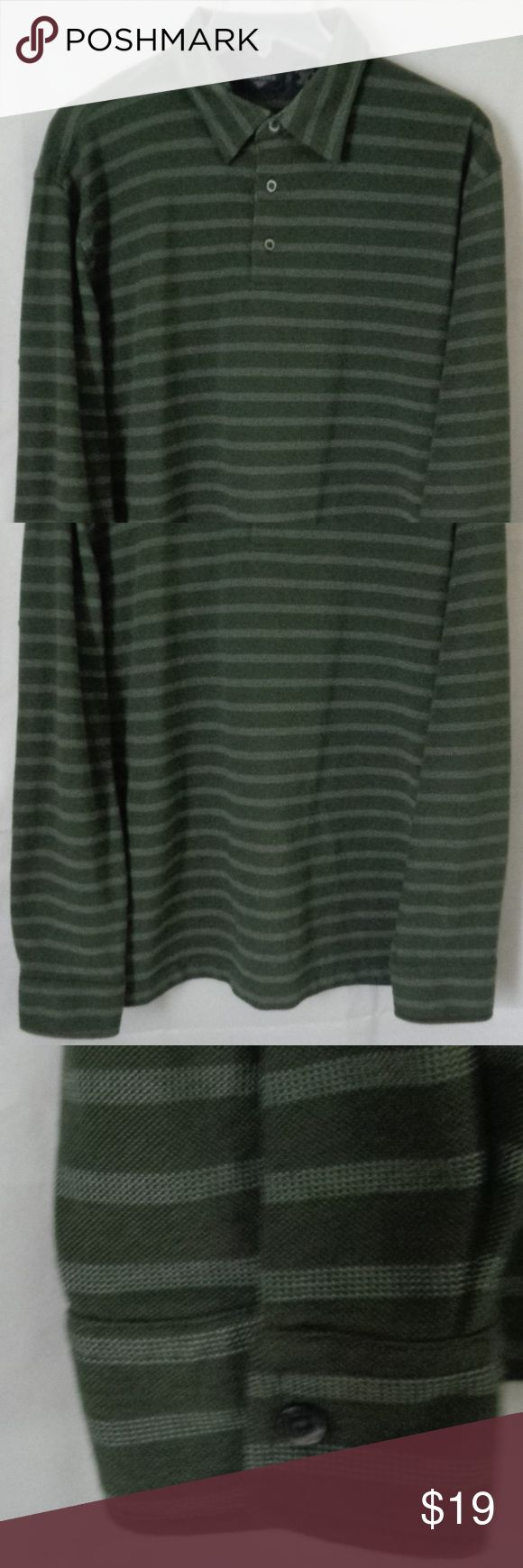 "Dockers Green Striped Polo Shirt Large #34 Dockers Green Striped Shirt   Long Sleeve  Large   Armpit to Armpit 25""  Shoulder to Hem 29 1/2""  Hem 24 1/2""  Sleeve Shoulder to cuff edge 24 1/2""  Excellent Condition! See pictures with zoom  #34 Dockers Shirts Polos"