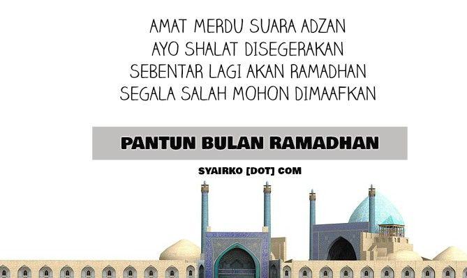 Pantun Bulan Ramadhan Pilihan.   Satu lagi dari www.syairko.com, kumpulan pantun untuk bulan puasa.   Anda akan diajak untuk menemukan pantun ucapan menyambut bulan Ramadhan, ucapan berbuka puasa, maupun pantun lucu waktu sahur.   Visit dan temukan!