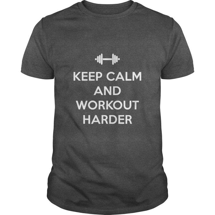 Keep Calm and Workout Harder Fitness T-shirt - https://www.sunfrog.com/20160611-071105-159898260.html?68704