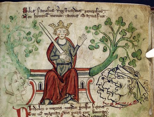 Detail of a miniature of Richard the Lionheart, England, c. 1307 - c. 1327, Royal MS 20 A II, f. 8r