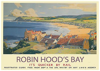 Visit Robin Hoods Bay railway poster pinned by www.realyorkshiretours.co.uk #yorkshire