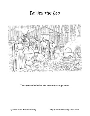 coloring pages Maple Syrup/Sugaring ~adapt into story line/ sequencing activity