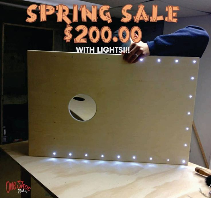 Spring Sale on Our Custom Cornhole Boards with lights. www.oneshotboards.com #oneshotboards #sale #custom #cornhole #lights offer expires April 23, 2014. Don't be without a set this summer!