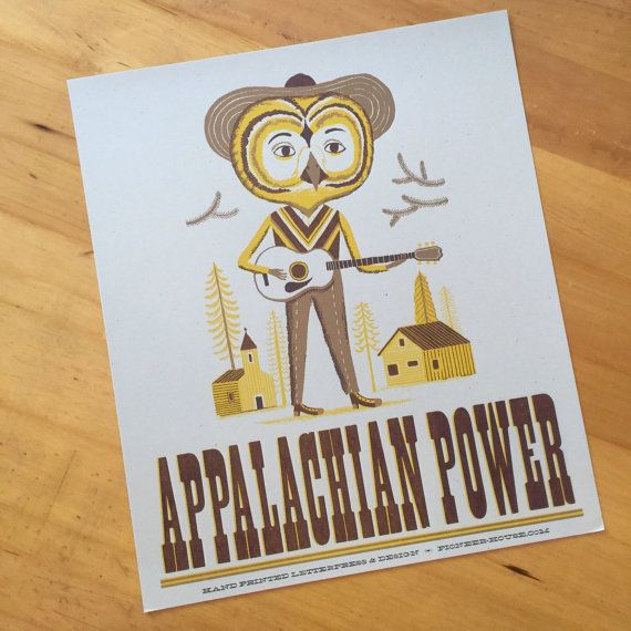 OWL+Musician+playing+a+Guitar+poster+with+text+Appalachian+Power+hand+printed+letterpress+with+hand+set+wood+type+sign
