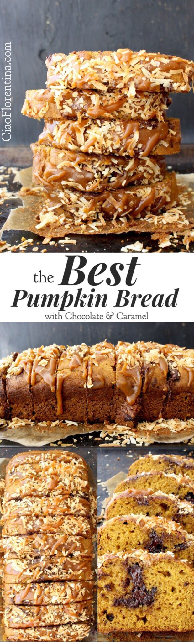 The Best and Easy Pumpkin Bread Recipe from Scratch with Canned Pumpkin Purée, Chocolate Chips and Caramel | CiaoFlorentina.com @CiaoFlorentina