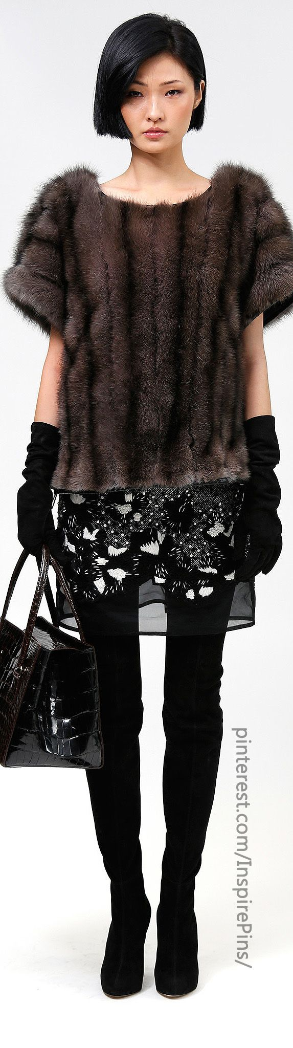 Pre-Fall 2014 Dennis Basso - Unless the fur in this outfit is faux the whole thing is a study in vanity. When will the ignorant women who buy this crap learn it looked better on the original owner? The designers are nothing more than animal abusers.