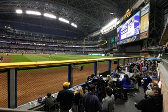 In the ATI Club, your group of 75 will get a player's view of the action from this unique area in right field, plus a pre-game buffet that begins when the Miller Park gates open and ends one hour after the first pitch.