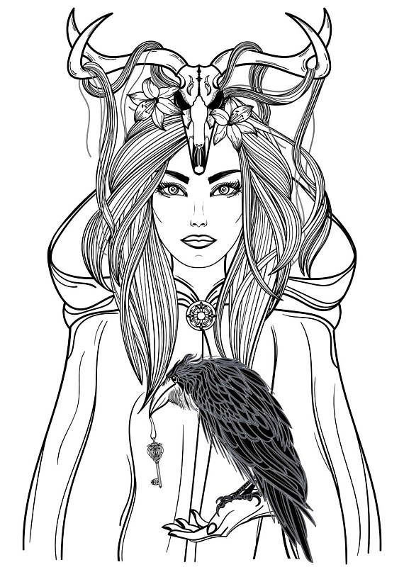 Beautiful adult coloring page raven pinterest adult for Raven coloring pages