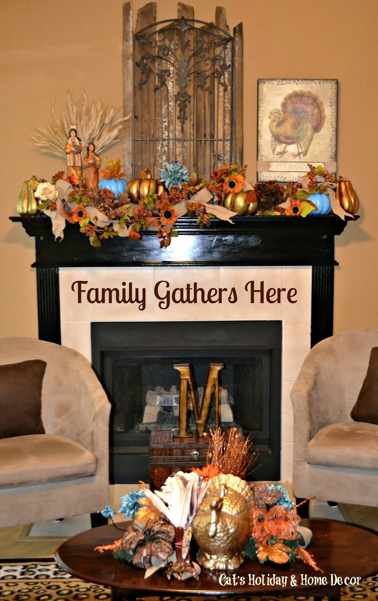 Thanksgiving decor mantle - Find This Pin And More On Cat S Holiday Home Decor