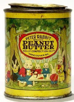 Peter Rabbit Peanut Butter http://www.prices4antiques.com/Tin-Peanut-Butter-Peter-Rabbit-Brand-Canada-13-oz-C245110.html