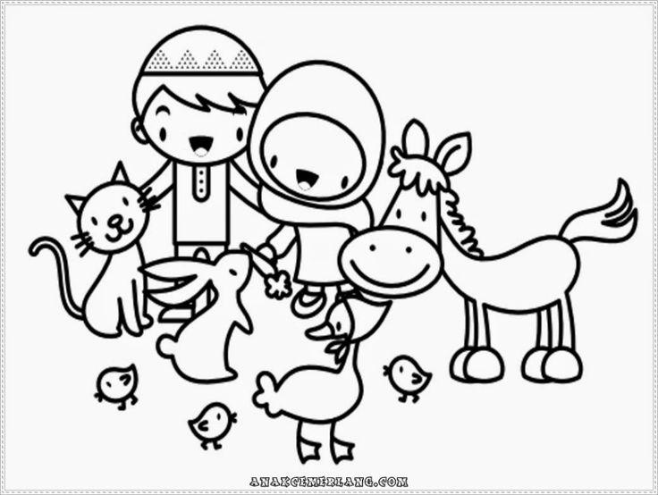 Mewarnai Gambar Anak Cemerlang Memberi Makan Binatang Peliharaan Kartun Binatang Gambar Kartun