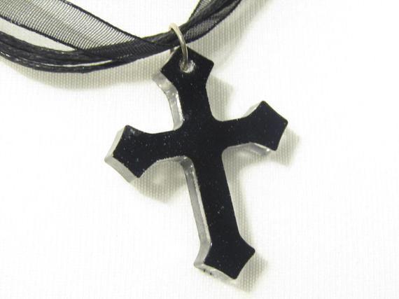 Gothic Cross Black Ribbon Choker