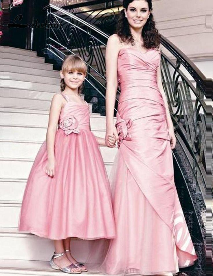 Elegant Strapless Sheath Formal Mother Daughter Evening Dresses Satin Tulle Long Family Party Gowns vestido de festa longo