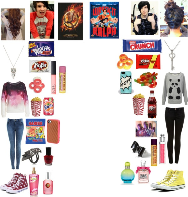 """""""Movie date with Dan and Phil"""" by cdrumm11 ❤ liked on Polyvore"""