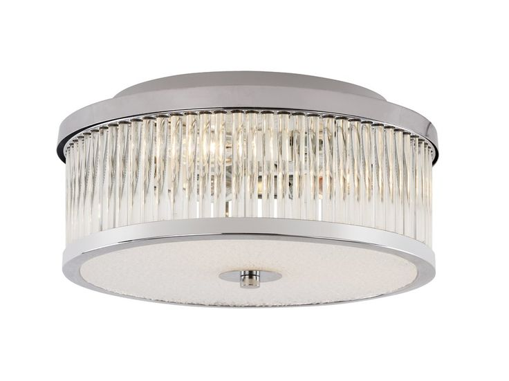 3 light round flush mount ceiling fixture with clear for Round bathroom light fixtures
