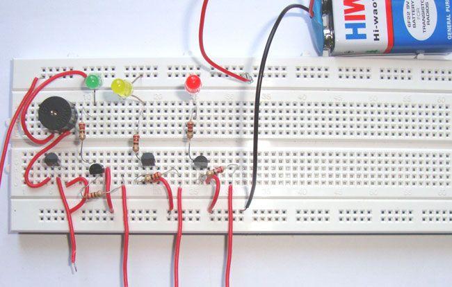 Simple Water Level Indicator Alarm using Transistors