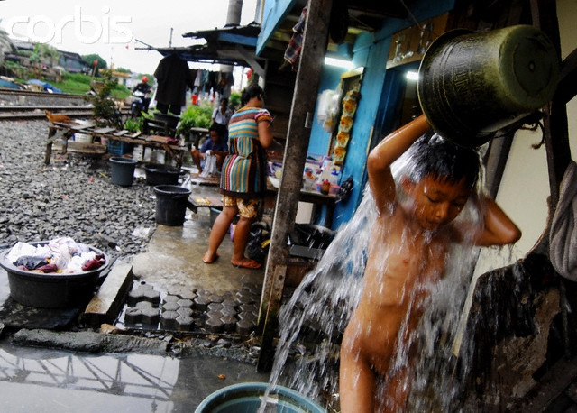Indonesia, Jakarta Slum, Child Bathing