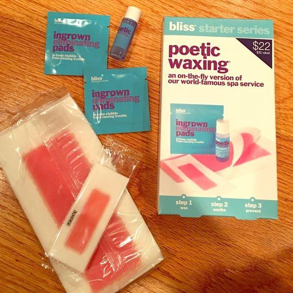 Bliss Poetic Waxing Kit 9 body strips 8 face strips 2 ingrown eliminating pads 1 small bottle of azulene oil Other