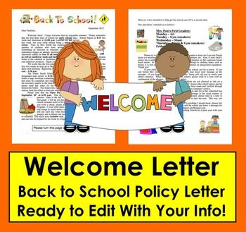 welcome back to school letter welcome letter for parents editable for your own details 27156