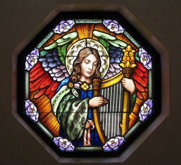 Angel stained glass: Angel Stained, Stained Glasses Window, Catholic Items, Catholic Churches, Church Conradschmitt Com, Glasses Angel, Strained Glasses, Glasses Delight, Augustine Catholic