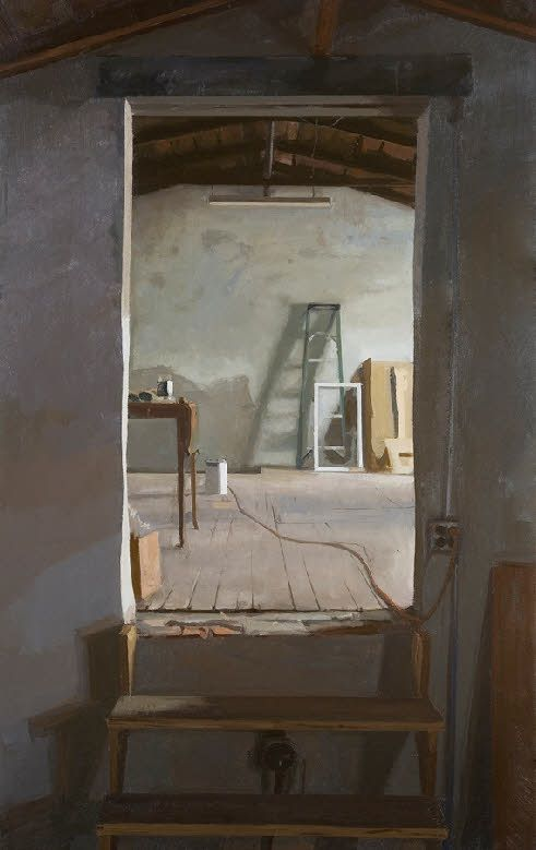 """Peter Van Dyck, 'Garage Attic', Oil on linen 42""""x28"""""""