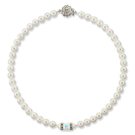 Pearl Necklace with Cube Center
