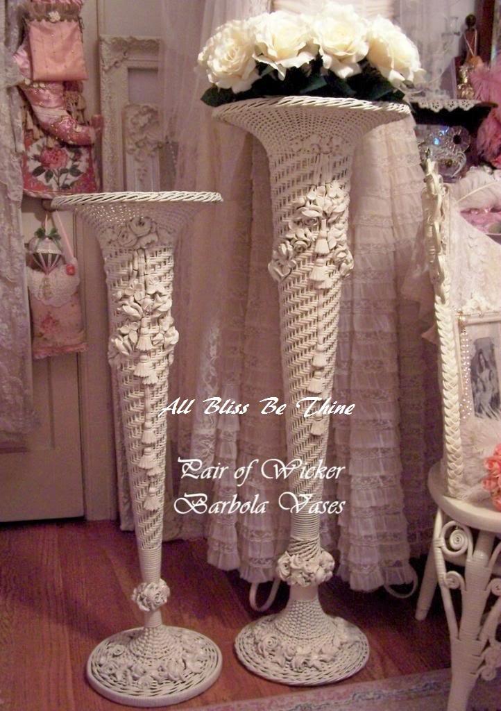 Victorian Wicker Barbola Bride's Vases