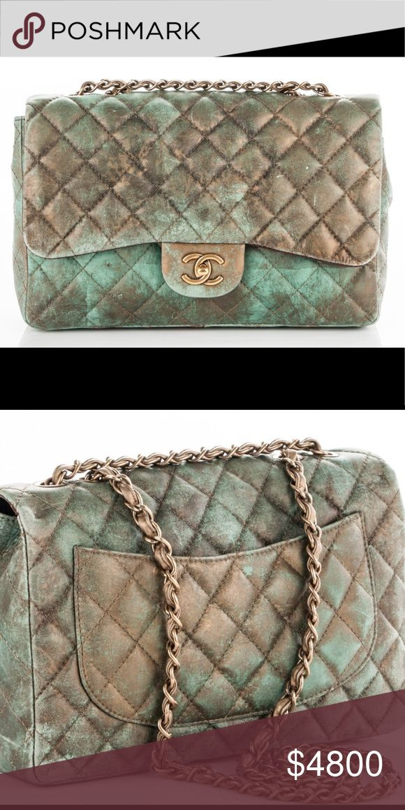 💯 % Auth Chanel Lambskin Gold & Green Jumbo Flap 💯 % Authentic Chanel Lambskin Gold &Green Jumbo Single Flap Bag. It's in very good condition with some normal sign of used. Comes with authenticity card. Will post more detail pictures soon. Very rare piece. Price firm. CHANEL Bags
