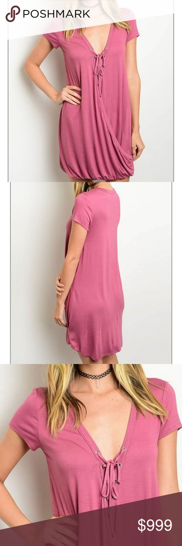 """dusty pink dress lovely dusty pink colored mini. gathered bottom hem with tie-up neckline. TTS, relaxed, super soft jersey knit feel, stretchy. brand new from wholesale and never worn. 95% rayon 5% spandex. about 33"""" long from shoulder. no trades.  S - bust stretches across from about 17""""-23"""" M - 18.5"""" - 24""""  08750 Dresses Mini"""