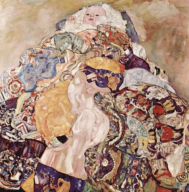 Gustav Klimt, La culla, 1917 - 1918. Olio su tela, 110×110 cm. National Gallery of Art, Washington D.C.