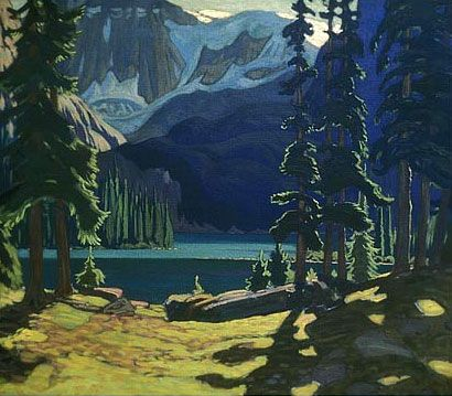 Image detail for -Morning, Lake O'Hara -- painting by J.E.H. MacDonald   This reminds me so much of Grinell Lake, Glacier Natl Park.