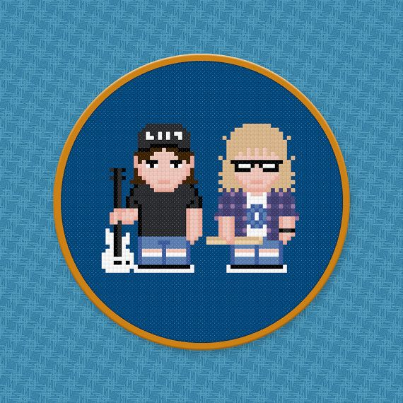 Wayne's World Movie Characters - Digital PDF Cross Stitch Pattern