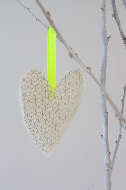 Heart ornament with neon ribbon