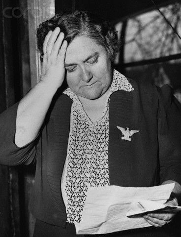 lleta Sullivan reads a letter from the U.S. Navy. She received two letters from F.D.R. in February of 1943. The first informed her of the death of her five sons in the line of duty, the second sent later requested her presence at the christening of the destroyer U.S.S. Sullivans named in their honor.