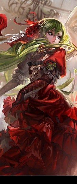 Anime art, beautiful girl, red ball dress