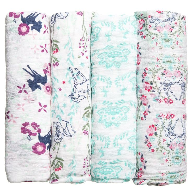 Aden & Anais pack of 4 large swaddling baby blankets. Made in soft cotton muslin, with a cute Disney' Bambi' print. They aremade from a soft breathable fabric which reduces the risk of overheating and becomes softer with every wash. Traditionally used for swaddling blankets, they are versatile and can be used used as burp cloths, stroller covers, car seat liners and tummy time blankets plus much more.