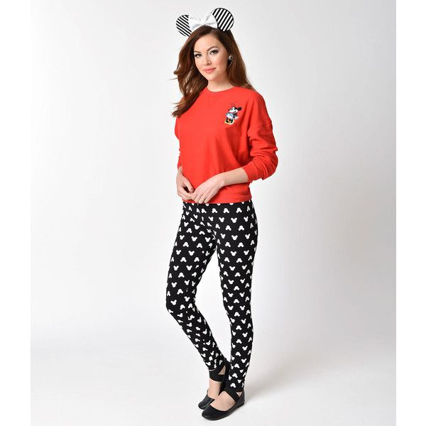 Mightyfine Black & White High Waist Mickey Mouse Print Stretch... ($36) ❤ liked on Polyvore featuring pants, leggings, black, high waisted cigarette pants, patterned leggings, black and white patterned leggings, tapered pants and stretch pants