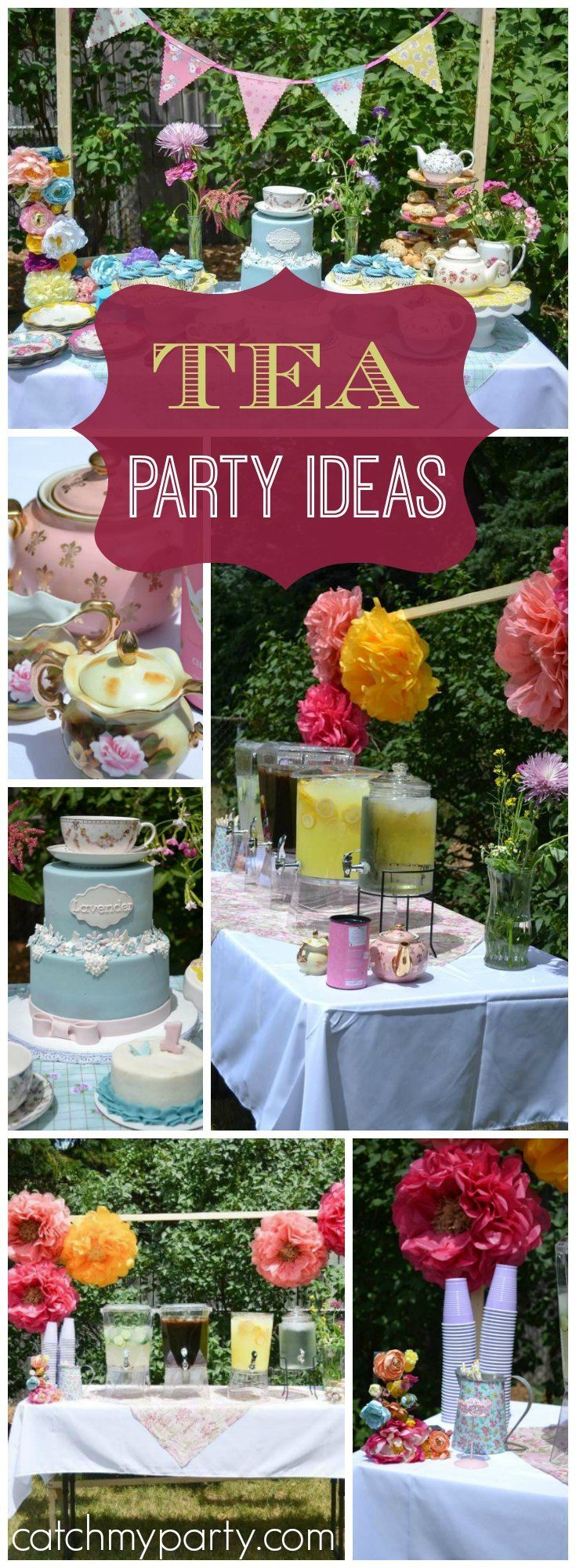 Wow! What a lovely lavender floral tea party! See more party ideas at Catchmyparty.com!