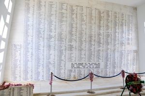 USS Arizona Memorial and Pearl Harbor Visitor Center Photos: Memorial Wall in the USS Arizona Memorial