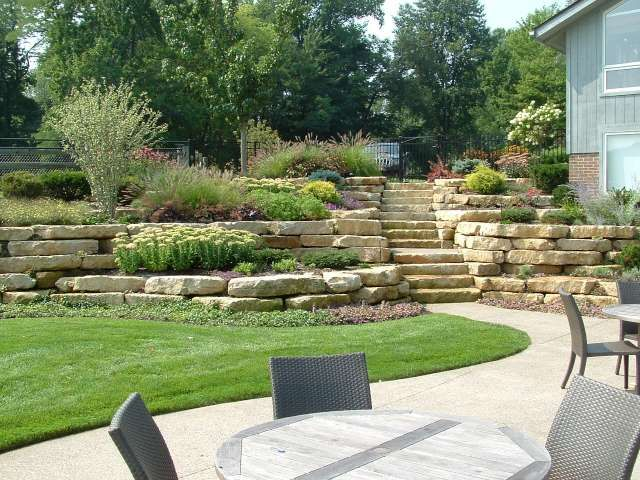 Hillside And Natural Stone Walls Above A Patio And Lawn Area, Beautifully  Landscaped With An. Hillside LandscapingLandscaping IdeasStacked ...