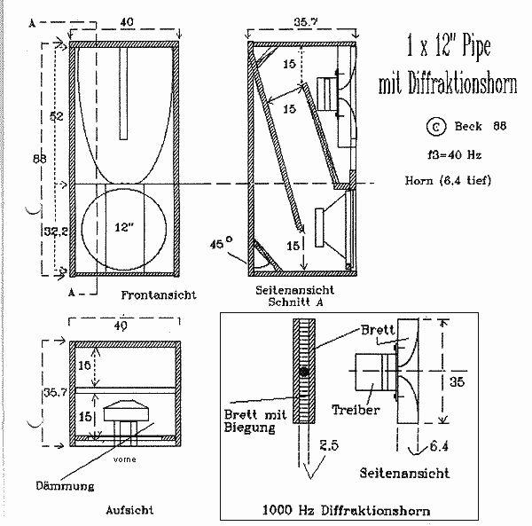 "1 x 12"" Pipe/Diffraktionshorn"