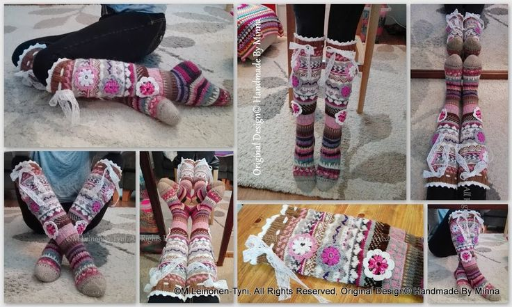 Áhhku - Somat Kukkasukat | Handmade By Minna ♥  Àhhku somat kukkasukat :)  Beautiful knitted socks, with flowers and lace. Of course, My Own Design :)   Original Design© Handmade By Minna https://www.facebook.com/Handmade-By-Minna-918765948170281/?ref=hl