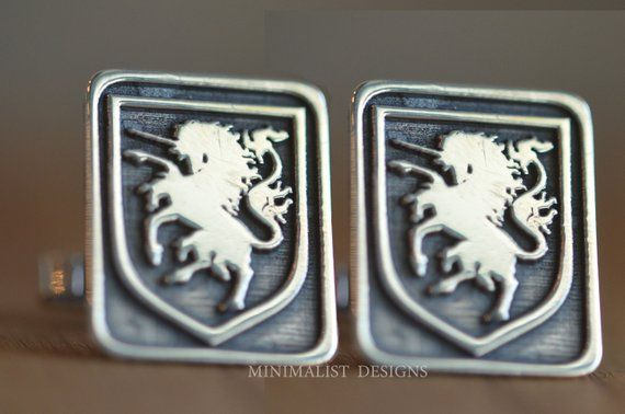 Sterling Silver, Custom Family Crest Cufflinks,Personalized